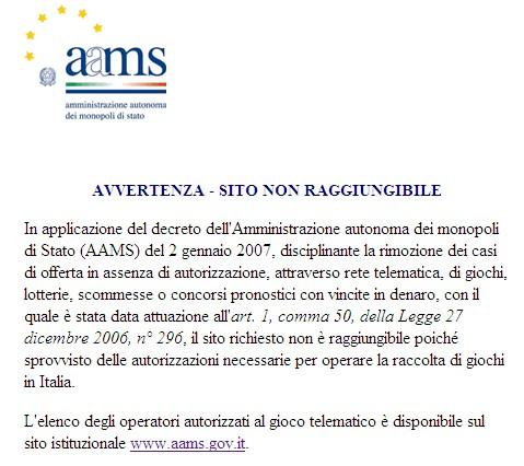 Il blocco AAMS